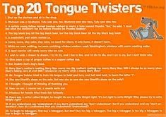 20 Tongue Twisters: great for choir warm-ups V Drama, Drama Class, Teaching Theatre, Teaching Music, Efl Teaching, Learning Guitar, Teaching Reading, Teaching Tools, Teaching English