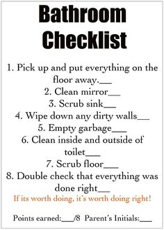 You give them the detailed job cards and then off they go to help you keep a clean house! Good idea to have a checklist for each room. Chore Cards, Task Cards, Just In Case, Just For You, How To Clean Mirrors, Chores For Kids, Kids Chore List, Just Dream, Do It Yourself Home
