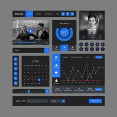 Behance Style Flat UI Kit, #Behance, #Buttons, #Calendar, #Chart, #Flat, #Free…