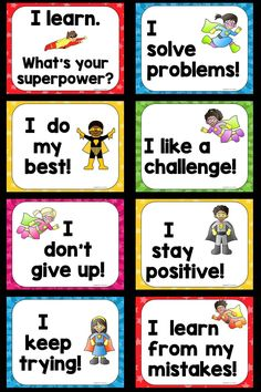 Very First Growth Mindset Posters: Designed to help students understand and celebrate the importance of problem solving, perseverance and learning from their mistakes.Tap The Link And Save up to On Our Massive Sale! Superhero School, Superhero Classroom Theme, Classroom Rules, Classroom Themes, Superhero Bulletin Boards, Classroom Posters, Social Emotional Learning, Social Skills, Growth Mindset Posters