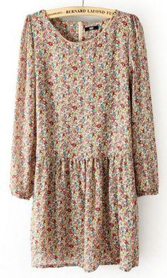 #SheInside Beige Long Sleeve Back Zipper Floral Pleated Dress