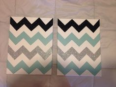 DIY chevron canvas! Make your chevron pattern, tape off, paint and add some glitter if you want! Super fun and easy and perfect for a teens bedroom or dorm room!