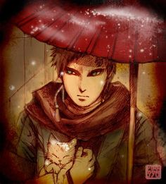 Gaara, red under the rain.. Facebook: Naruto's Page..