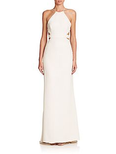 Halston Heritage Cutout-Back Halter Gown