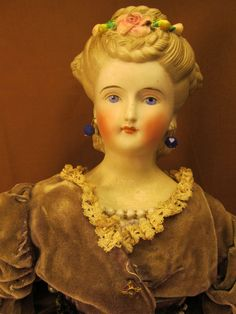 "Beautiful 17"" Antique Fashion ~Parian-China-Bisque ~ Molded Fancy Hairdo"