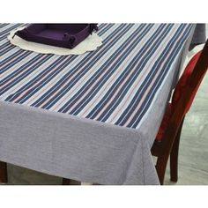 Coastal stripe table cover chambrey border #tablecovers #tablecoversonline