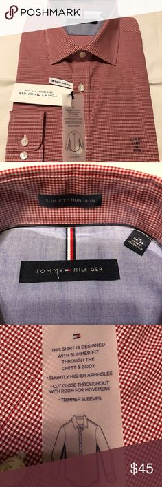 NWT Tommy Hilfiger Slim Fit Dress Shirt (16 34/35) Brand new with tags men's Tommy Hilfiger red/white dress shirt.  Size - 16 34/35 (Large) Slim fit Non iron Tommy Hilfiger Shirts Dress Shirts