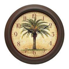 """The Cabana 12"""" Resin Palm Tree Wall Clock: Amazon.com: Home & Kitchen"""