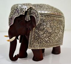 Rare Silver metal- Wooden Elephant Figurine Solid Vintage Carved Figurines India picclick.com