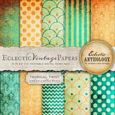 Eclectic Vintage Printable Papers - Tropical Twist-vintage, graphics, papers, printable, scrapbook, textured, download, royalty free, commercial use, orange, green, gold