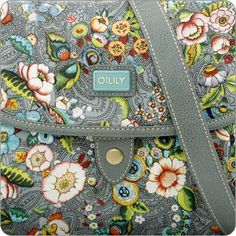 OILILY TASCHE French Flowers : M Flap Shoulder Bag in Grey : Onlineshop