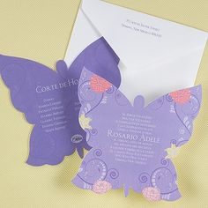 Unique Butterfly Silhouette Quinceanera Invitations A butterfly silhouette and bright flowers display your wording on this two-sided invitation.