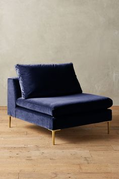 Velvet Edlyn Chair - midnight blue, navy blue; gold legs - home decor, interior design - anthropologie.com