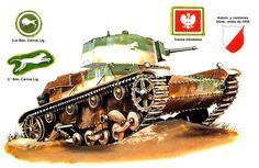 7TP jw. (torre única), comandante de la 2.ª Compañia, 2.° Batallón de Carros de Combate Ligeros (2.° Batallón Acorazado); Polonia, septiembre de 1939. Terry Hadler. Está pintado según el esquema mimético estándar de 1936. Las dos barras blancas verticales identifican la compañia, y la franja horizontal de debajo, al comandante de la misma. La insignia, un «gato montés saltando» del batallón en la torre, pudo haber sido pintada al prepararse para la guerra. Más en www.elgrancapitan.org/foro/ Poland Ww2, T 26, Battle Tank, Armored Vehicles, Box Art, Military Vehicles, Wwii, Camouflage, Army