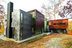 This rectangular mansion is loaded with modern luxury features.