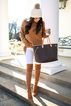 Bp Sweater | J. Brand White Denim | Stuart Weitzman Boots | Topshop Hat | Louis Vuitton Bag |Gucci Sunglasses | Spoiler Alert Lipstick | Gucci Belt. Fashion Blogger, Fashion Outfit, Fashion for Women, Winter Outfit, Louis Vuitton, LV, Casual Outfit. Emily Ann Gemma, The Sweetest Thing Blog #EmilyAnnGemma #TheSweetestThingBlog #fashionforwomen #winterfashion