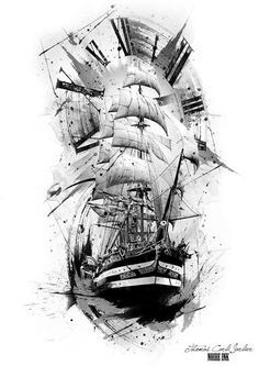 Our Website is the greatest collection of tattoos designs and artists. Find Inspirations for your next Clock Tattoo. Search for more Tattoos. Tattoo Drawings, Body Art Tattoos, Sleeve Tattoos, Cool Tattoos, Ship Tattoos, Tattoo Art, Pirate Tattoo Sleeve, Ship Tattoo Sleeves, Tattoo Time