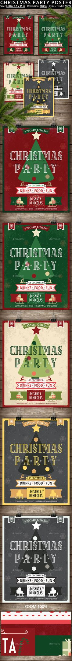 5 Posters Christmas Party Template PSD #design Download: http://graphicriver.net/item/5-posters-christmas-party/13339207?ref=ksioks