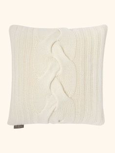 Cable Knit Detail Cashmere Cushion in New Ivory - N.PEAL Luxury Cashmere