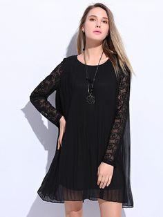 Plus Size Solid Ruched Lace Chiffon Dress