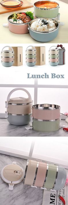 1/2/3/4 Layers Stainless Steel Thermal Insulated Lunch Box Bento Food Storage Co