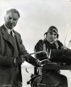 """Clark Gable and Victor Fleming on the set of """"Test Pilot"""" 1938"""