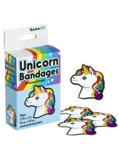 """Unicorn"" Adhesive Bandages #InkedShop #InkedMag #Unicorn #Bandages #Rainbow"