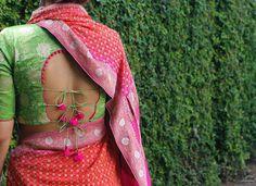 No one minds  a little surprise detail! Designer blouse by Naina jain. Irresistable Naina Jain. 01 April 2017 Latest Blouse Patterns, Designer Blouse Patterns, Blouse Designs Latest 2017, Dress Patterns, Blouse Back Neck Designs, Blouse Designs Silk, Choli Designs, Latest Sarees 2017, Saree Blouse