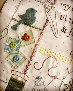 Sewing Day combines everything we love about handwork - unique embroidery with wool applique, a little piecing, and buttons!