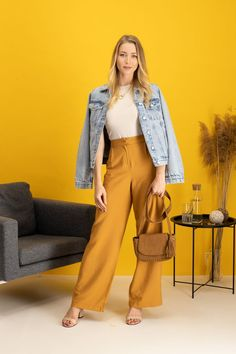 autumn | autumn outfit | spring outfit | summer outfit | autumn fashion | womensoutfit | casual outfit | women autumn outfit | womens white top | creamy tanktop | womens yellow pants | culottes pants | womens denim jacket | womens creamy sandals | womens heeled sandals | brown handbag | fashion inspo | outfit inspo #ootd #factcooloutfit Pants For Women, Jackets For Women, Clothes For Women, Yellow Pants, Spring Outfits, Autumn Fashion, Casual Outfits, Cardigan Sweaters For Women, Outerwear Women