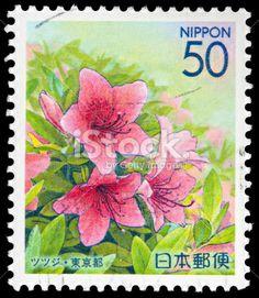 Beautiful Pastel Flowers on Japanese Vintage Postage Stamp Royalty Free Stock Photo