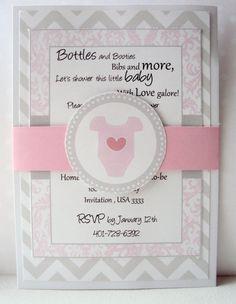 Baby Shower invitation , Pink and Grey Invitation, Onsie Invitation. $25.00, via Etsy.