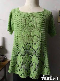 Tunney's Pasture Tunic pattern by Jennifer Ozses Crochet T Shirts, Tunisian Crochet, Crochet Cardigan, Crochet Clothes, Crochet Lace, Knit Dress, Baby Boy Knitting Patterns, Knitting Designs, Crochet Patterns