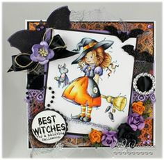 HAZEL by Sylvia Zet for Whimsy Stamps Halloween Cards, Fall Halloween, Paper Halloween, Halloween Stuff, Scrapbook Paper Crafts, Paper Crafting, Scrapbooking, Whimsy Stamps, Fancy Fold Cards