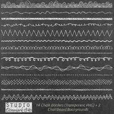 Kreide Grenzen Clipart 14 Chalkboard Clipart von StudioDenmark