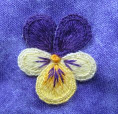 Stumpwork pansy: tutorial part two by Marjolein of threads-and-patches.