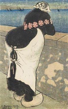 Wimpelkette - Farbholzschnitt - Moser, Carl (Bozen 1873 - 1939 Bozen), Frau am Ufer, Farbholzschnitt, 33 x 21,5 cm