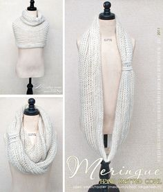 Meringue Cowl: Lightweight and delicate as the perfect meringue dessert, this cowl makes for a most enjoyable treat. Download free pattern.