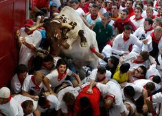 A steer jumps over the crowd of runners blocking the entrance to the bullring during the second running of the bulls of the San Fermin festival in Pamplona on July 8.