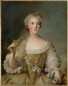 Madame Sophie de France, fille de Louis XV (1734-1782) Description : Représentée en buste tenant une guirlande de fleurs vers 1747 Auteur : Nattier Jean-Marc (1685-1766)