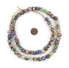 Mixed Krobo Powder Glass Beads (Round)