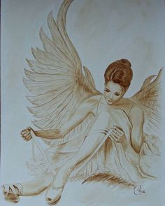 Engel-Ballerina angelehnt an ein Gemälde von Yoo Choong Yeul... Mit Kaffee gemalt. Angelballerina ispired by a painting by Yoo Choong Yeul... Painted with coffee  #Ballerina #engelballerina #angelballerina #zeichnung #zeichnungen #kaffeemalerei #kaffeepinsel  #coffeebrush #drawing #drawings #coffeepaint #coffeepainting #lovecoffee #kaffeeliebe #kaffee #engel #angel #coffee #coffeelove #weihnachtsgeschenk #christmasgift #supportart