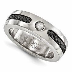 Mens Diamond Titanium Ring with Black Cable Inlay