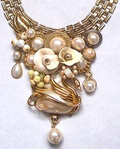 Odette Golden Pearl Statement Necklace by secondlookjewelry