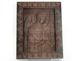 Archangel Michael religious icon Wood carving, religious gift , black walnut wood , home decor Archangel Michael, Religious Icons, Vintage World Maps, Unique Jewelry, Handmade Gifts, Wood, Frame, Etsy, Home Decor