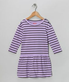 Take a look at this Purple Stripe Dress - Toddler & Girls by S.W.A.K. on #zulily today!  8.99 from 22.00  The basic school dress!!!