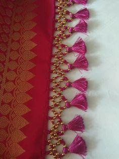 Saree Kuchu New Designs, Chudi Neck Designs, Saree Tassels Designs, Pattu Saree Blouse Designs, Bead Embroidery Tutorial, Flower Embroidery Designs, Silk Saree Kanchipuram, Silk Sarees, Baby Dress Design