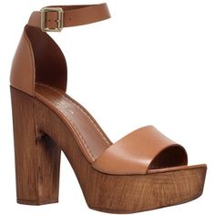 Carvela Kara Leather Platform Block Heel Sandals, Tan (2 370 UAH) ❤ liked on Polyvore featuring shoes, sandals, heels, chunky platform sandals, low platform sandals, platform sandals, heeled sandals and flat sandals