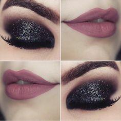 Make olho preto esfumado com gliter. Bridal Eye Makeup, Smoky Eye Makeup, Glitter Eye Makeup, Eye Makeup Steps, Makeup Eye Looks, Eye Makeup Art, Skin Makeup, Eyeshadow Makeup, Makeup Tips
