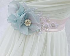 Bridal Sash, Wedding Sash in Blush Pink And Mint WIth Lace, Pearls And Crystals…
